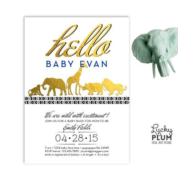 Gold Safari Baby Shower Invitation  Shower Invitations Babies