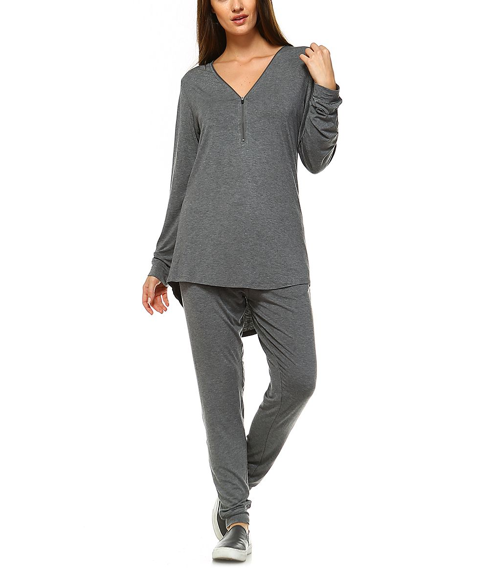 Charcoal Hi-Low Tunic Set - Plus