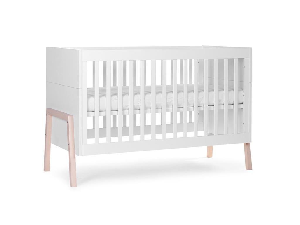 Babybett Weiß, 70x140cm, umbaubar zum Juniorbett, Nordic Acacia ...