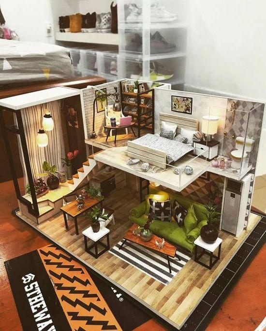 desain interior rumah minimalis dengan lantai mezzanine inspirasi arsitektur also diy loft apartments dollhouse wooden furniture led kit christmas rh pinterest