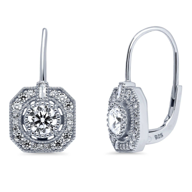 Rose Gold Tone over 925 Silver Diamond Filigree Oval Leverback Earrings