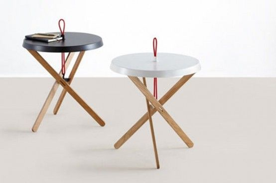 Cool Minimalist Side Table With A Red Handle by Mox | DigsDigs