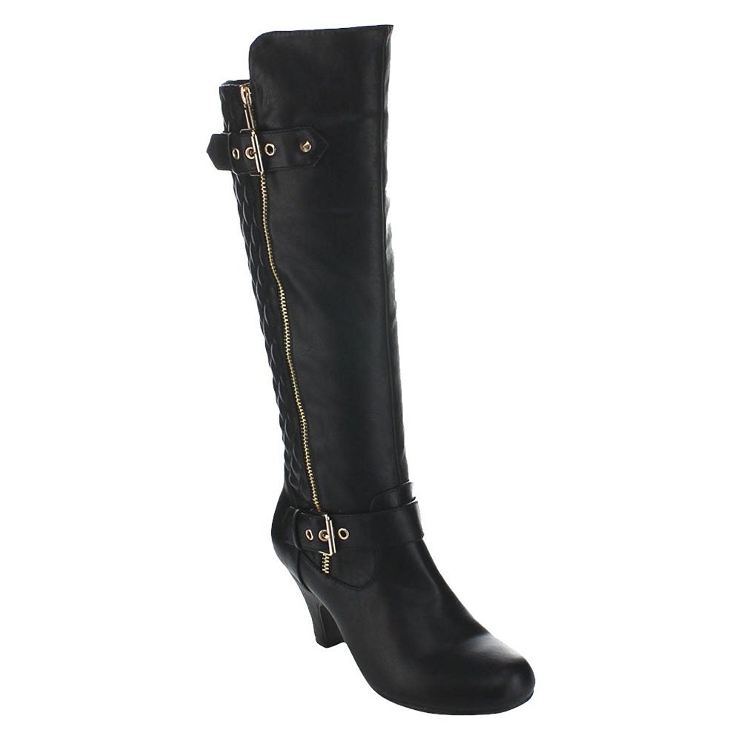 FOREVER ELVINA-22 Women's Knee High Quilted Back Shaft Boots ... : quilted back boots - Adamdwight.com