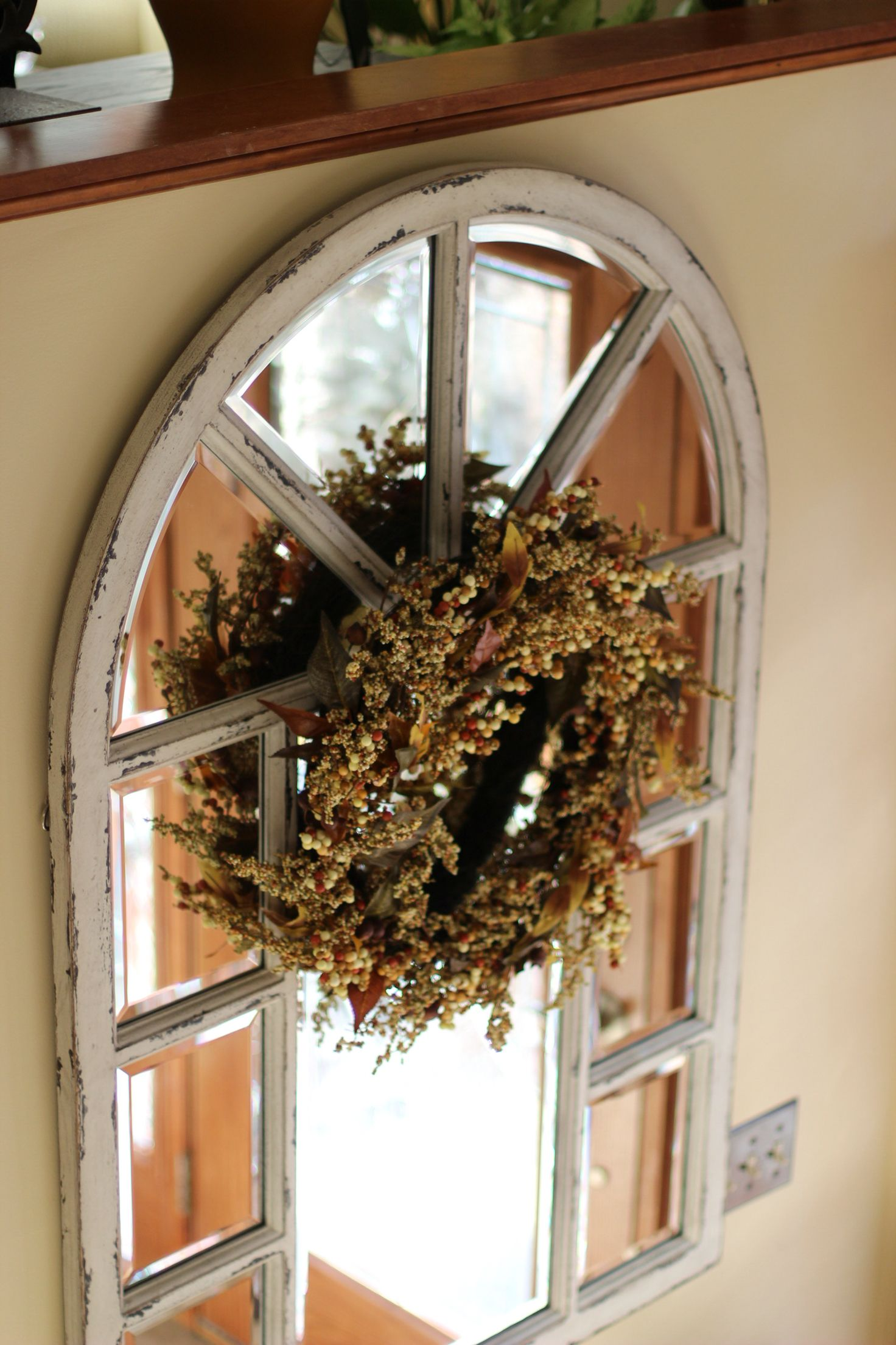 Window Frame Mirror From Ethan Allen With Fall Wreath In