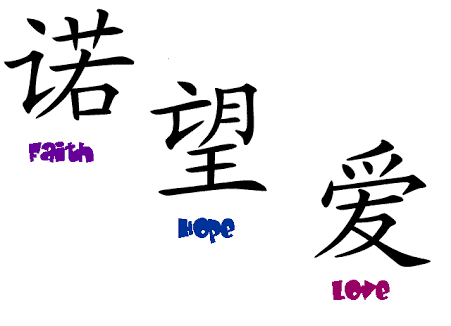 Faith Hope Love Chinese Symbol Tattoos