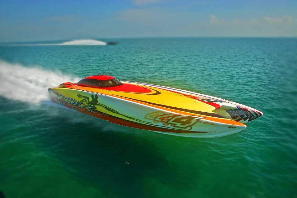The Canopied Lick This Skater Powerboat On A Poker Run Power