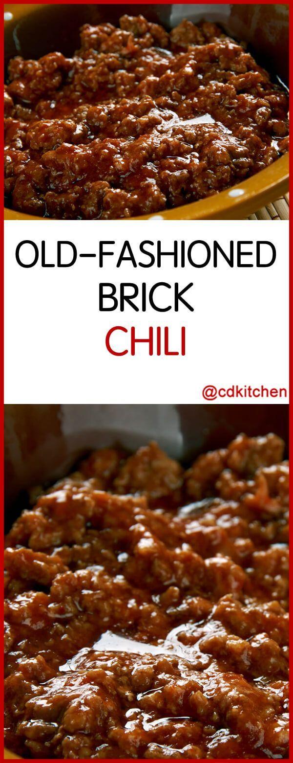 Old Fashioned Brick Chili Recipe Is Made With Chili Powder Chili Meat Suet Onions Salt Black Pepper Garlic Brick Chili Recipe Brick Chili Chili Recipes
