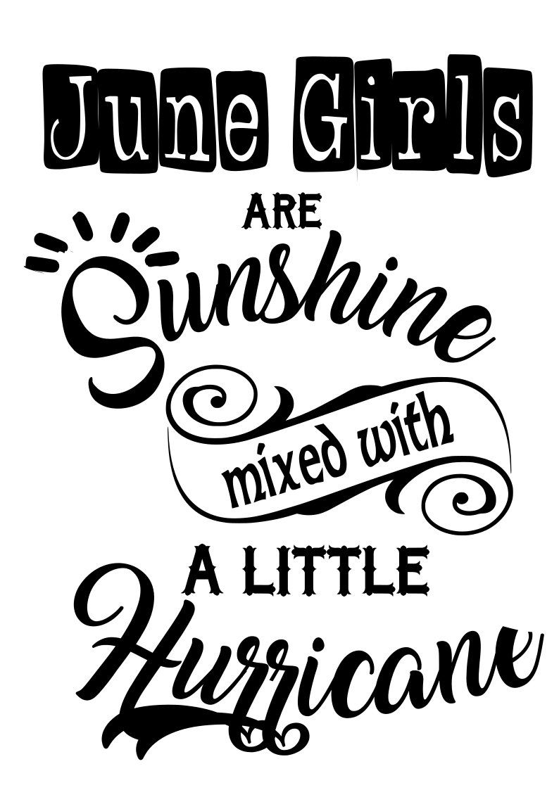June Girls Sunshine mixed with Hurricane SVG File, Quote Cut File ...