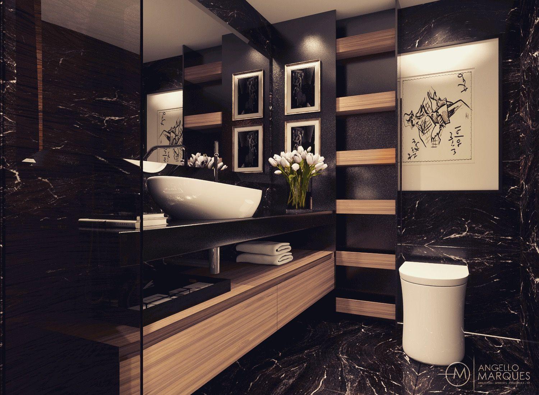 Concep O De Darkbathroom Para Casal Detalhes Marrom Imperial  # Meuble Tv Monza
