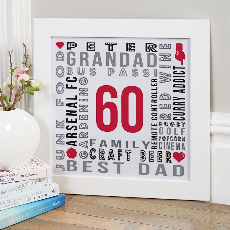 60th Birthday Gift for Him of Personalised Age Wall Art