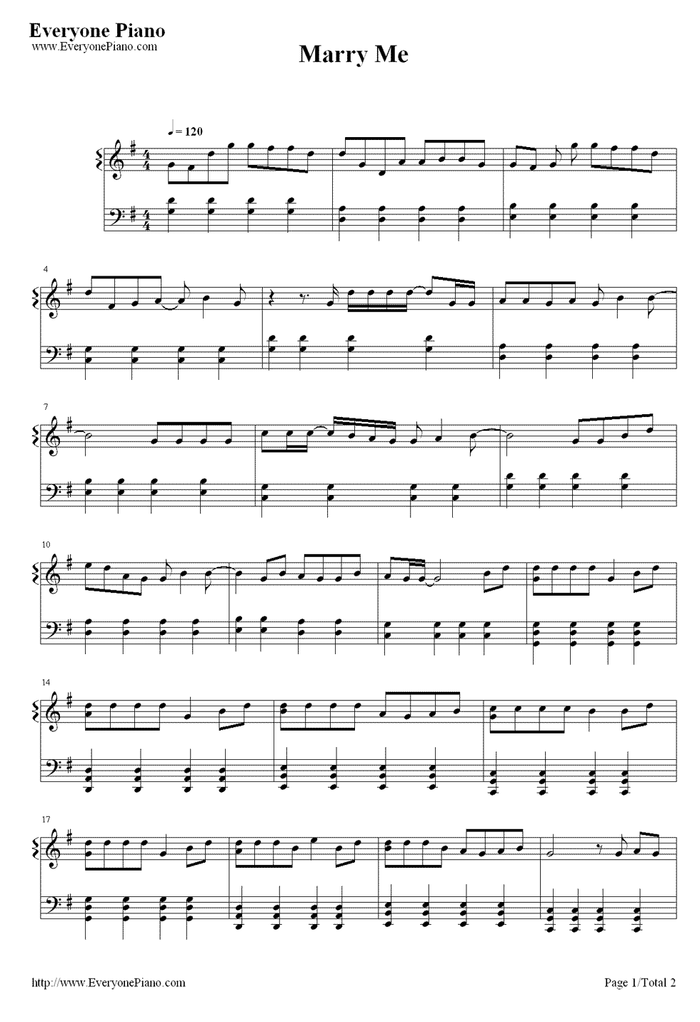 Marry Me Jason Derulo Stave Preview 1 Music Scores In 2018