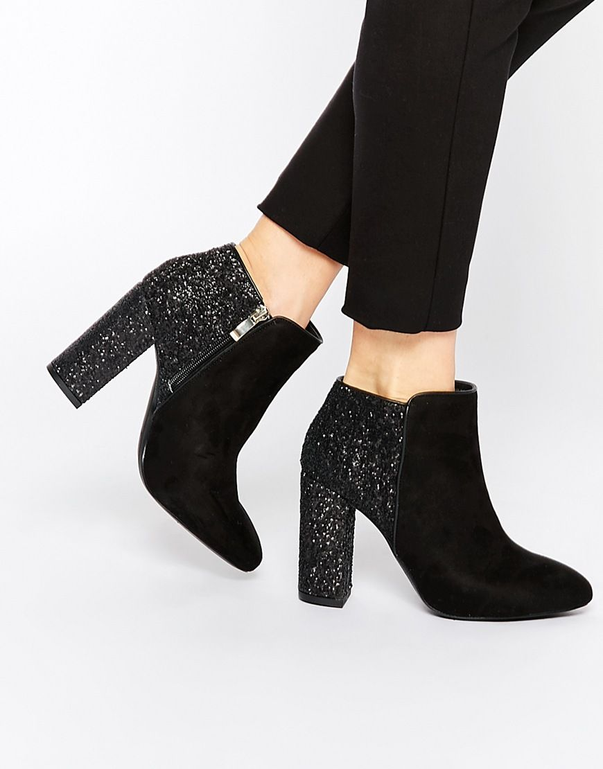 Shoes women heels, Boots, Black glitter