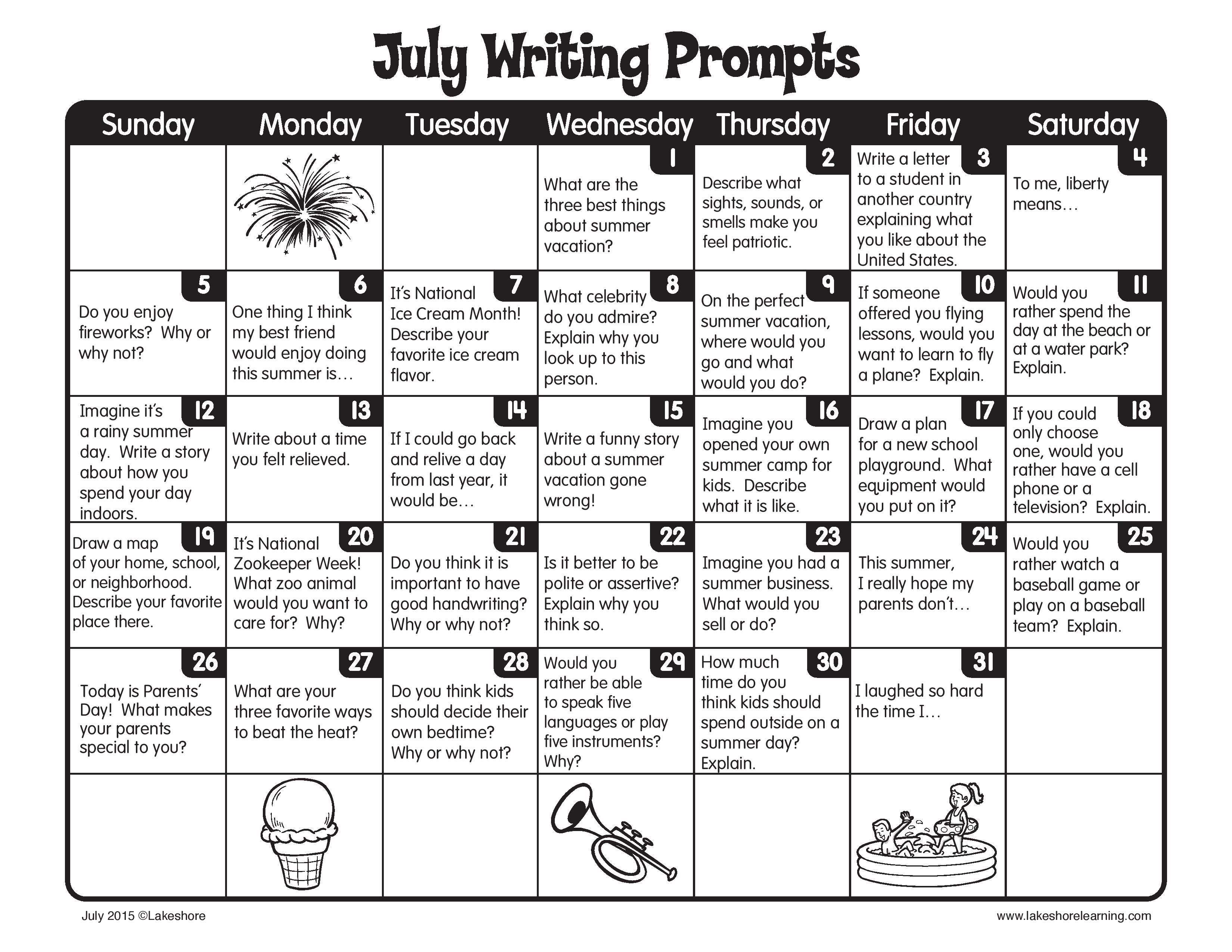 Keep up the daily writing this summer with our July writing prompts ...