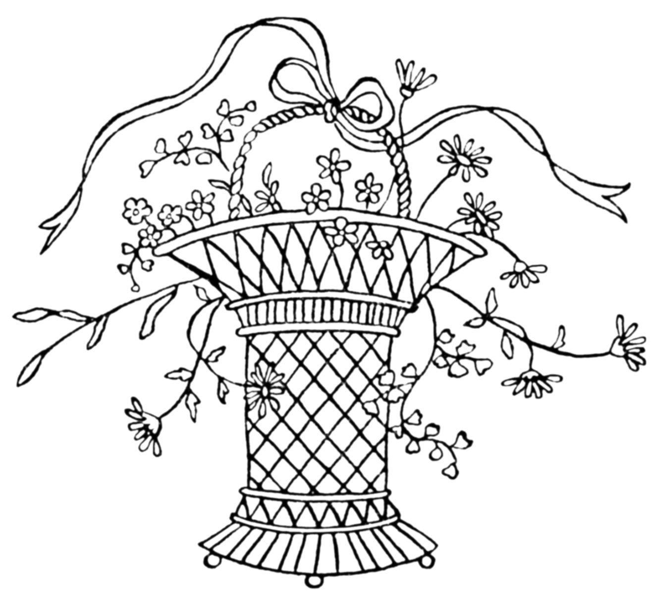 Vintage Newspaper Embroidery Transfers u00 Baskets