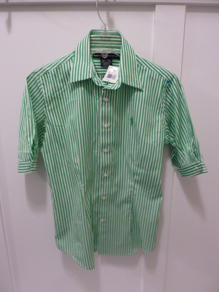 9bbd0e983b0a RALPH LAUREN SPORT WOMENS NEW WITH TAGS GREEN/WHITE SS STRIPED SHIRT~SIZE  4~ #LaurenRalphLauren #Blouse