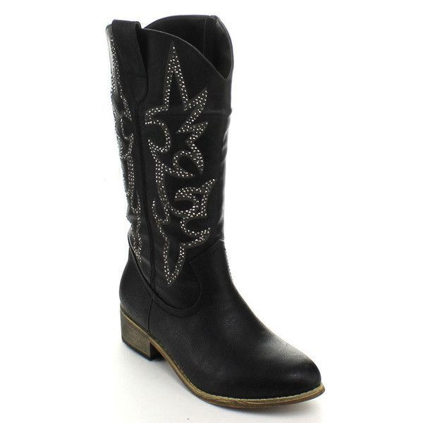 Plus Size Womens Comfort Pull On Mid Calf Riding Boots Block Heel Cowboy Boots