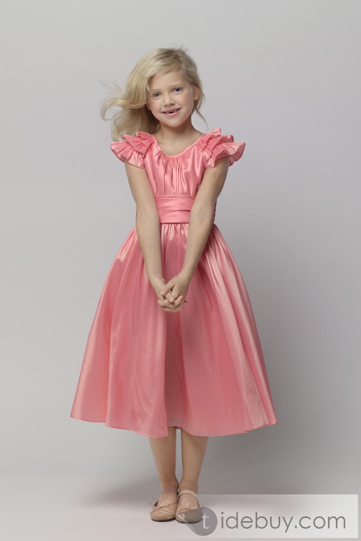 Charming A-line V-neck Puff-Sleeve Tea-length Flower Girl Dresses ...