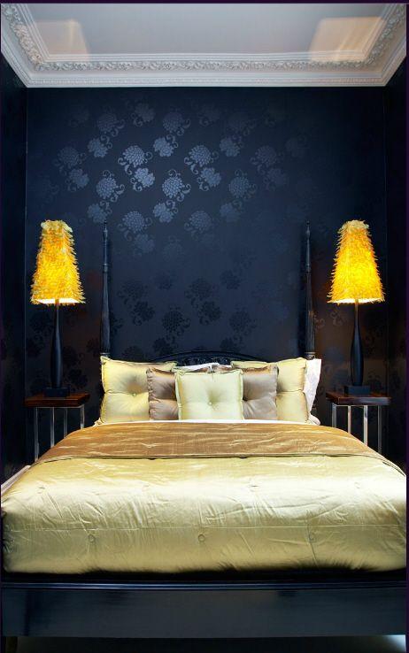 indigo navy blue bedroom Indigo, Canary Yellow, Gold Bedroom-colors. Like the