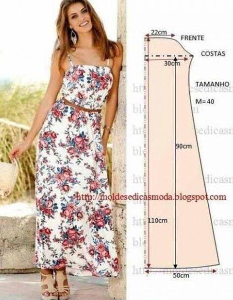 летние выкройками с длинные платья
