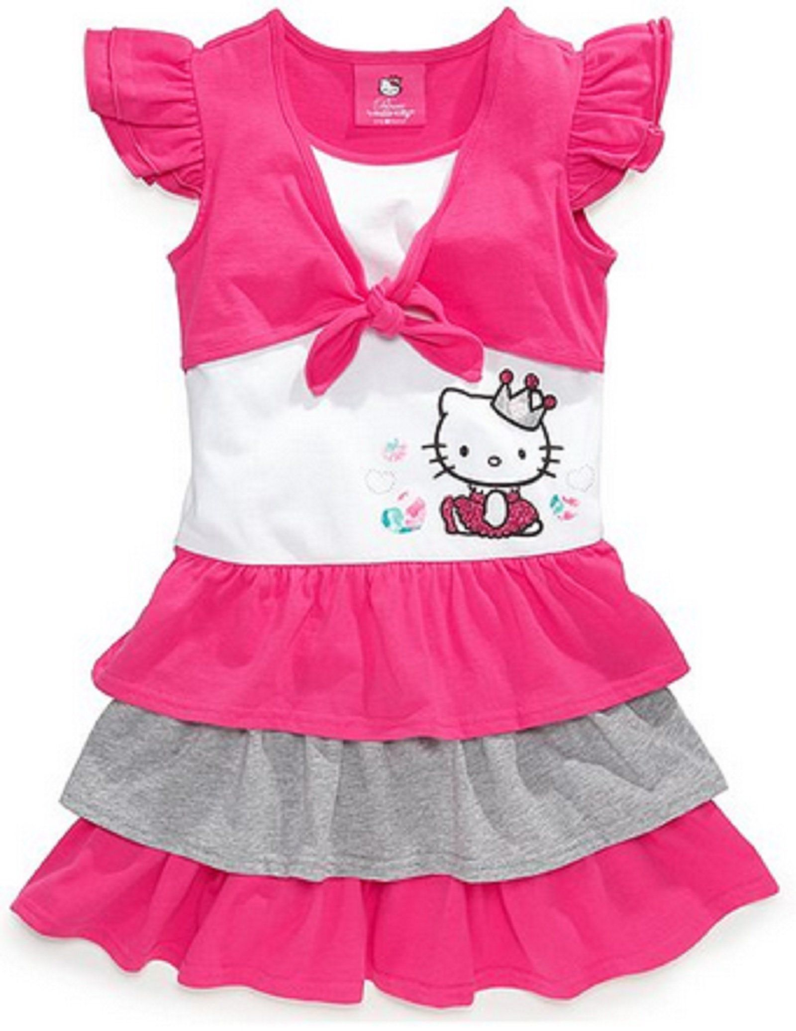 2a0f0494d Hello Kitty Girl's Shrug Color Block Dress Size 6 Pink. Pullover style.  Multicolor tiered