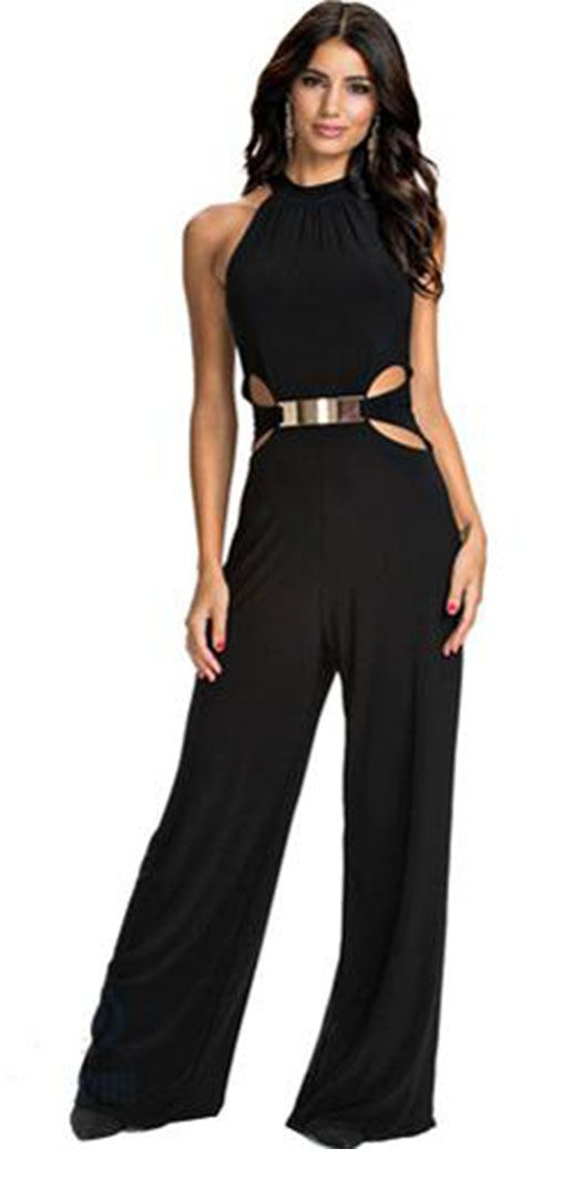 845f3484c2e3 Women s Party Sexy Solid Halter Wide Leg Sleeveless Spring Fall Jumpsuits