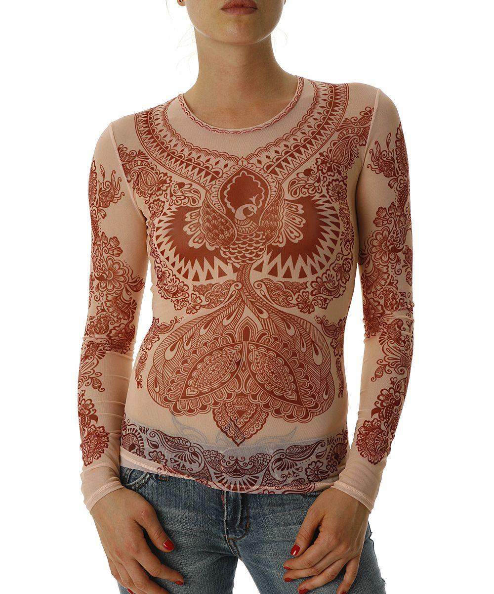 #breastfree awesomeness!!! | Rust Mesh Maroon Henna Firebird Long-Sleeve Top