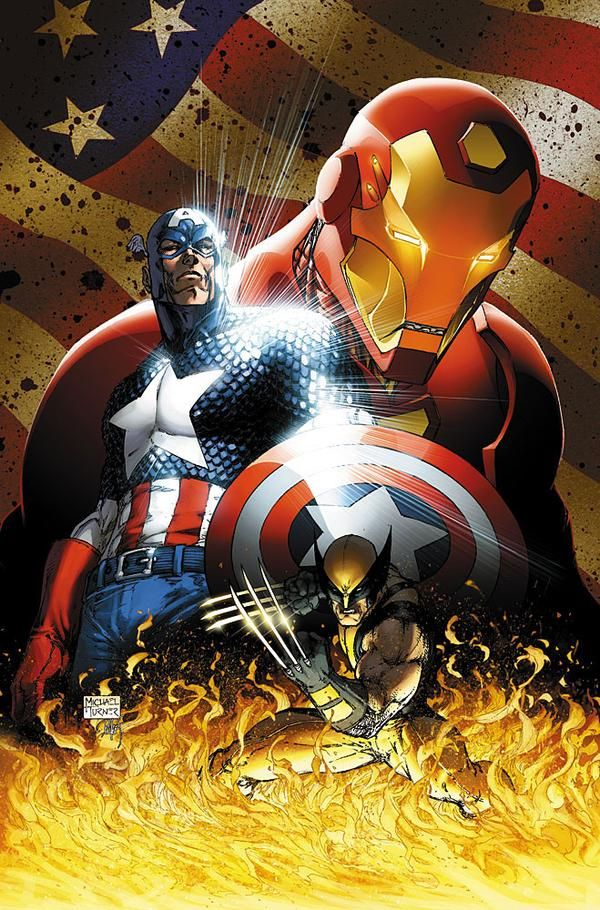Iron Man, Captain America and Wolverine Civil War #1 Variant Cover by Michael Turner.