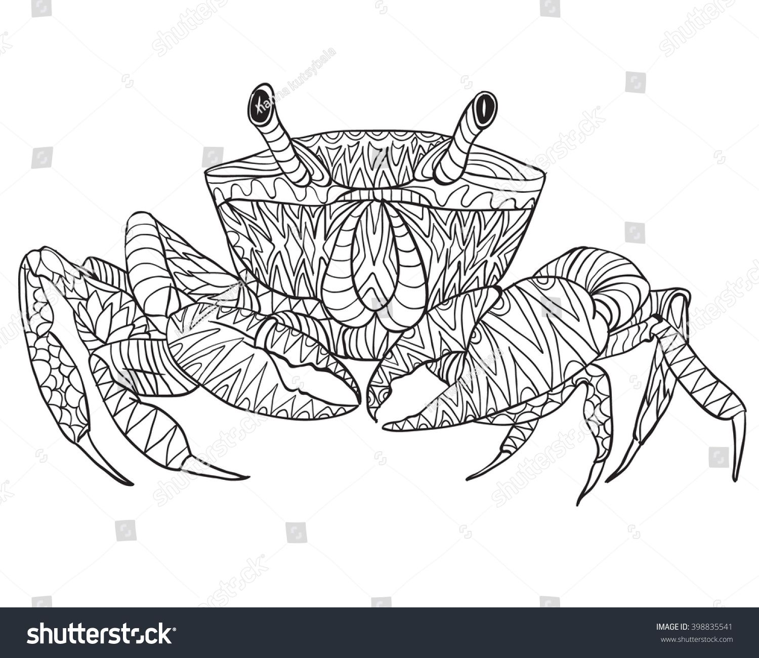 Hand Drawn Coloring Pages With Crab Illustration For Adult Anti Stress Coloring Books With High Details Isolated Dessins Sur Les Mains Coloriage Illustration