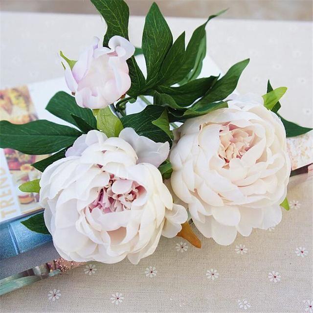 1Pc Silk Artificial Peony Flowers flores artificiais para decora o artificiales for Home wedding decoration fake Flower cheap