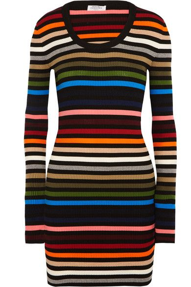 8d0d2e008c Sonia Rykiel - Striped Ribbed-knit Mini Dress - Orange | Jersey ...