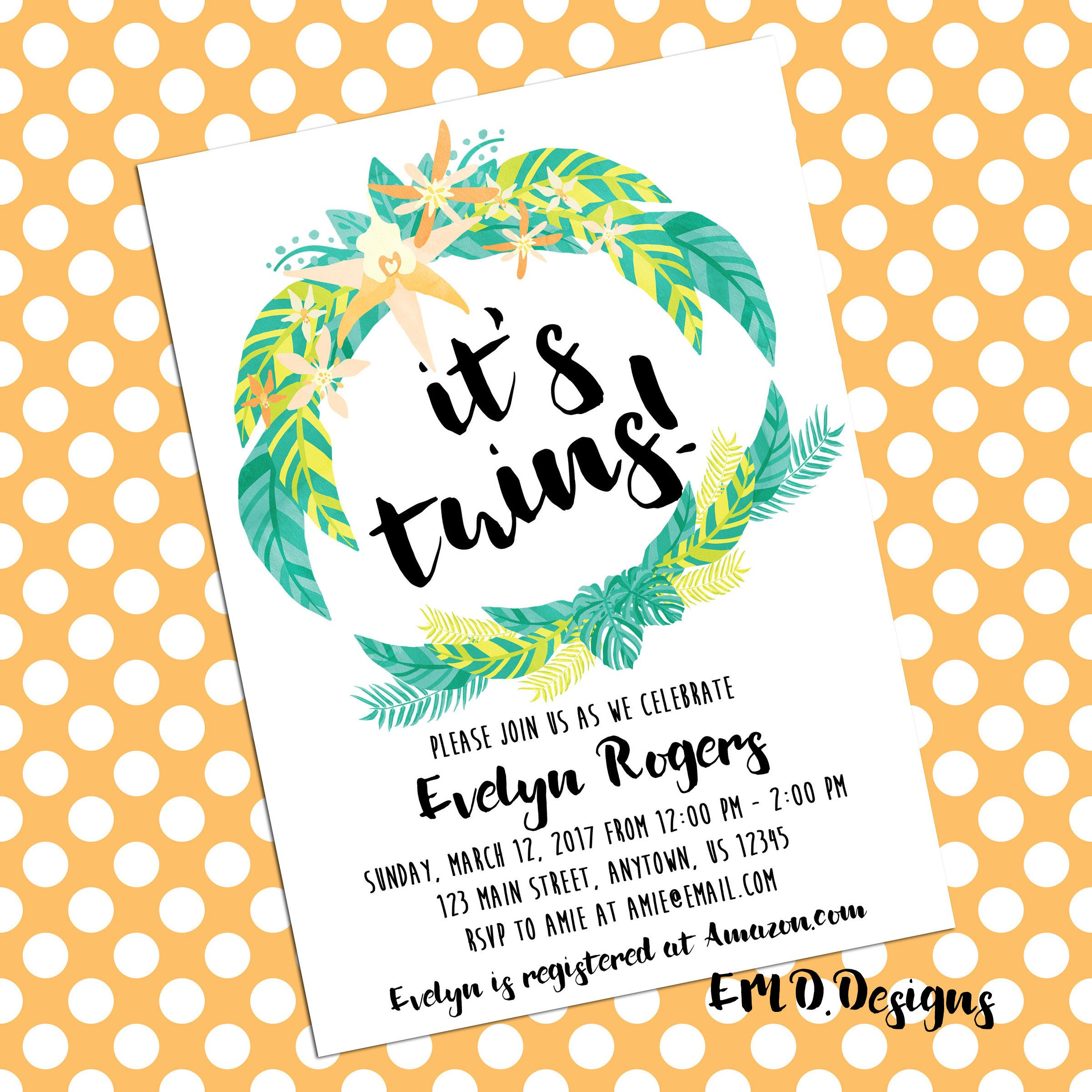 Tropical Wreath Floral Luau Twin Baby Shower Invitation PRINTABLE ...