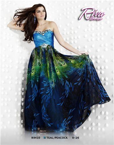 Riva Designs Peacock Print Prom Dress R9410