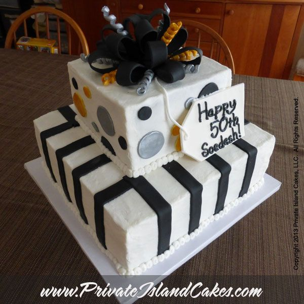 50th Birthday Cake For A Man Gold Silver And Black With Stripes Circles Bow Two Tier Square