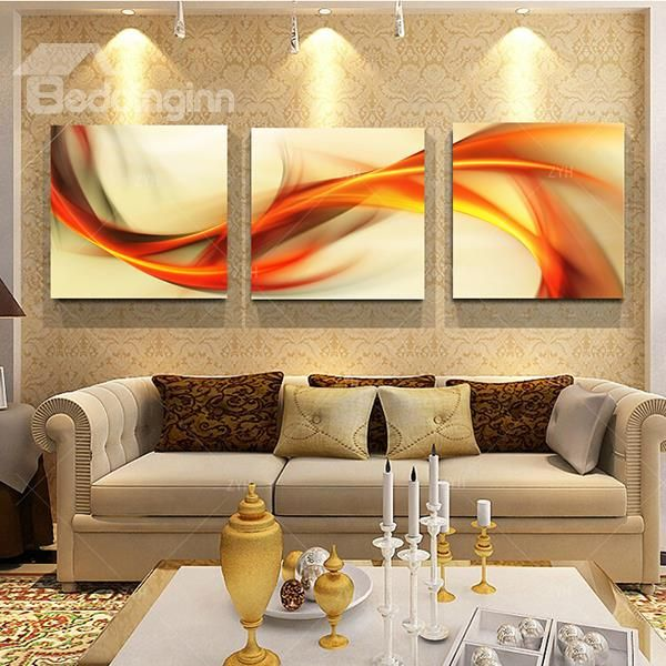 20×20in×3 Panels Orange Curved Lines Hanging Canvas Waterproof and ...