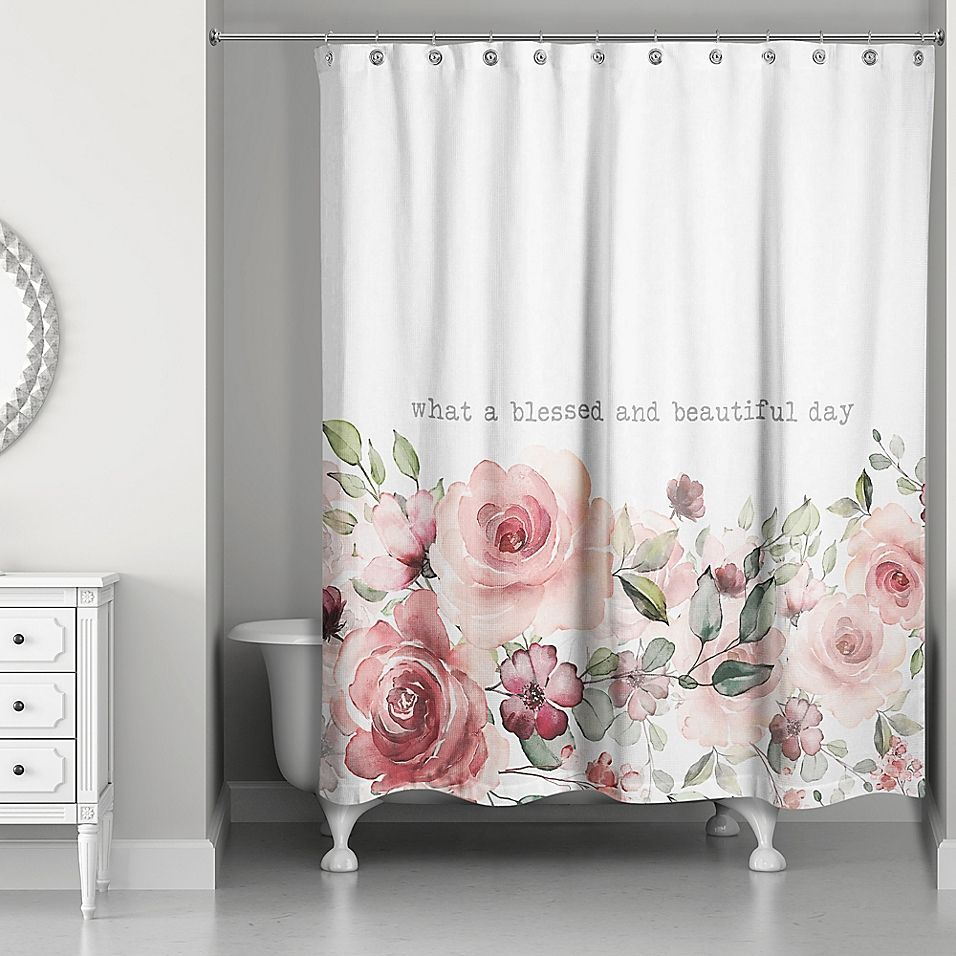 Designs Direct Beautiful Day Shower Curtain In Pink Beautifuldesignershowercurtains