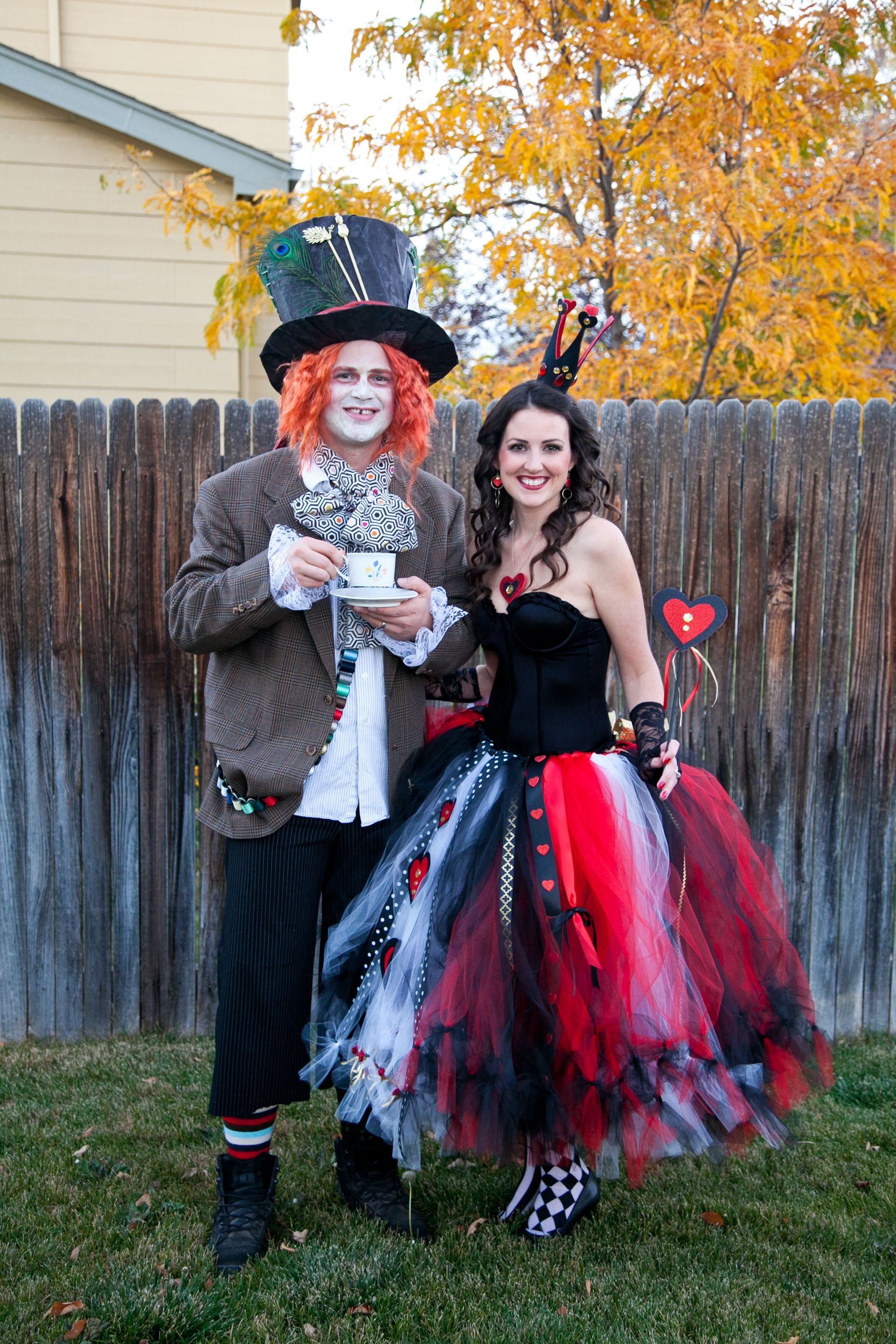 Queen of Hearts and Mad Hatter DIY adult Halloween