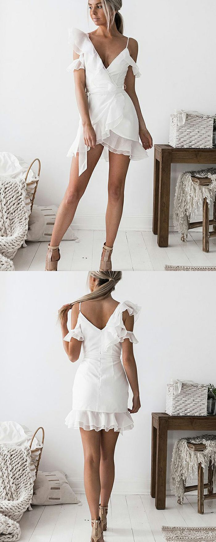 Asymmetric white homecoming dress spaghetti straps short prom dress