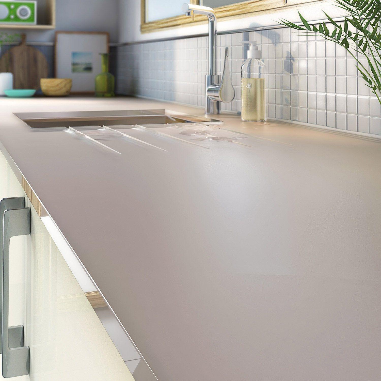 Plan De Travail 15 plan de travail sur-mesure verre laqué crème, ep.15 mm