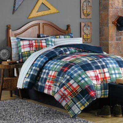boy blue red white yellow plaid twin bed in a bag winston - Plaid Comforter