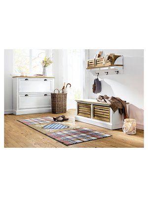 Garderobe Mit Holzboxen Schuhschrank Bank Kommode Fussmatte