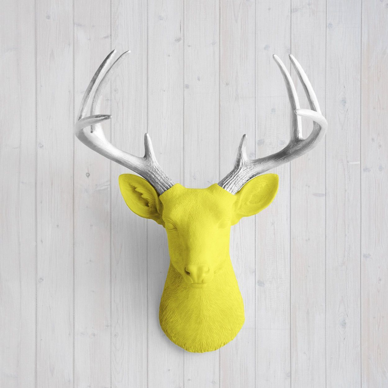 The Virginia Large Yellow Faux Taxidermy Resin Deer Head Wall Mount ...