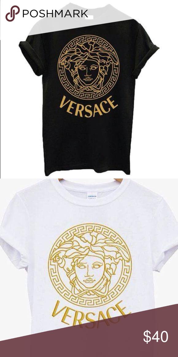 8651fa41e6 Versace medusa logo fashion Tshirt Versace medusa ladies gold logo ...