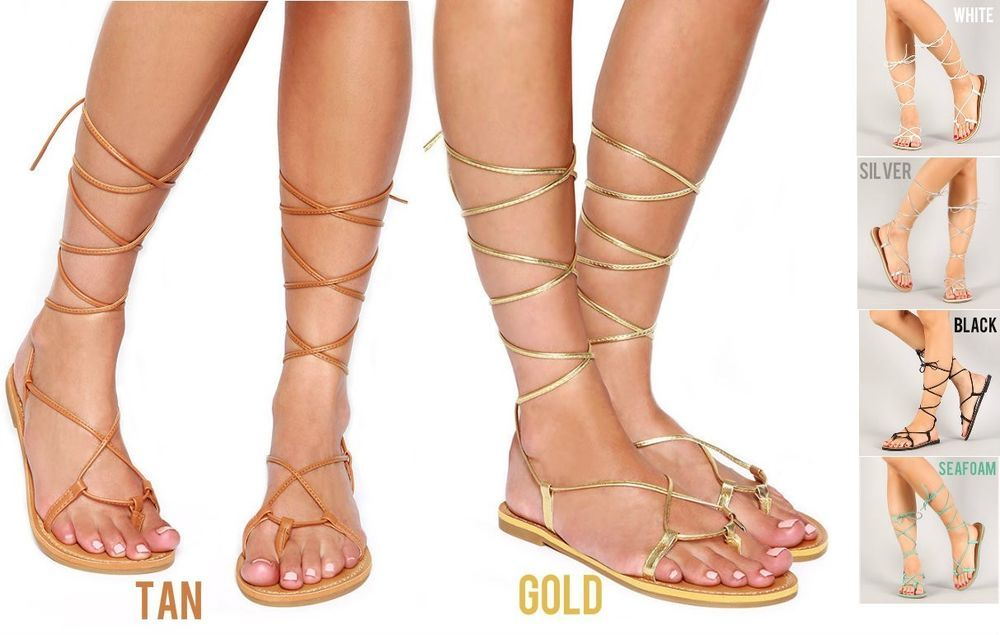 e04504197 Lace Up Metallic Leg Wrap Thong Self Tie Flat Gladiator Flat Sandals ARMIN   SGL  Strappy