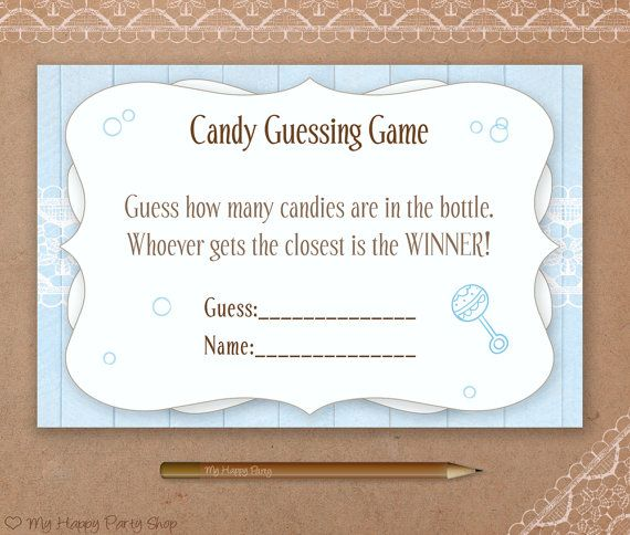 blue candy guessing printable baby shower boy baby