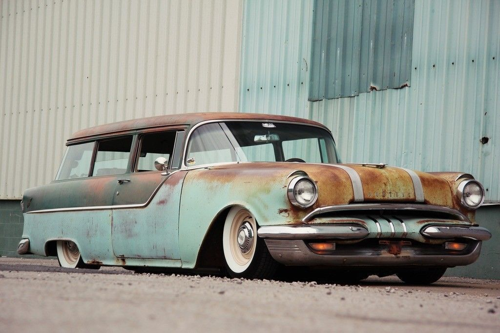 rare 1955 Pontiac 2 door wagon hot rod   Hot rods for sale ...