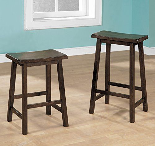 Monarch Specialties 2 Piece Walnut Saddle Seat Barstools 24 Inch