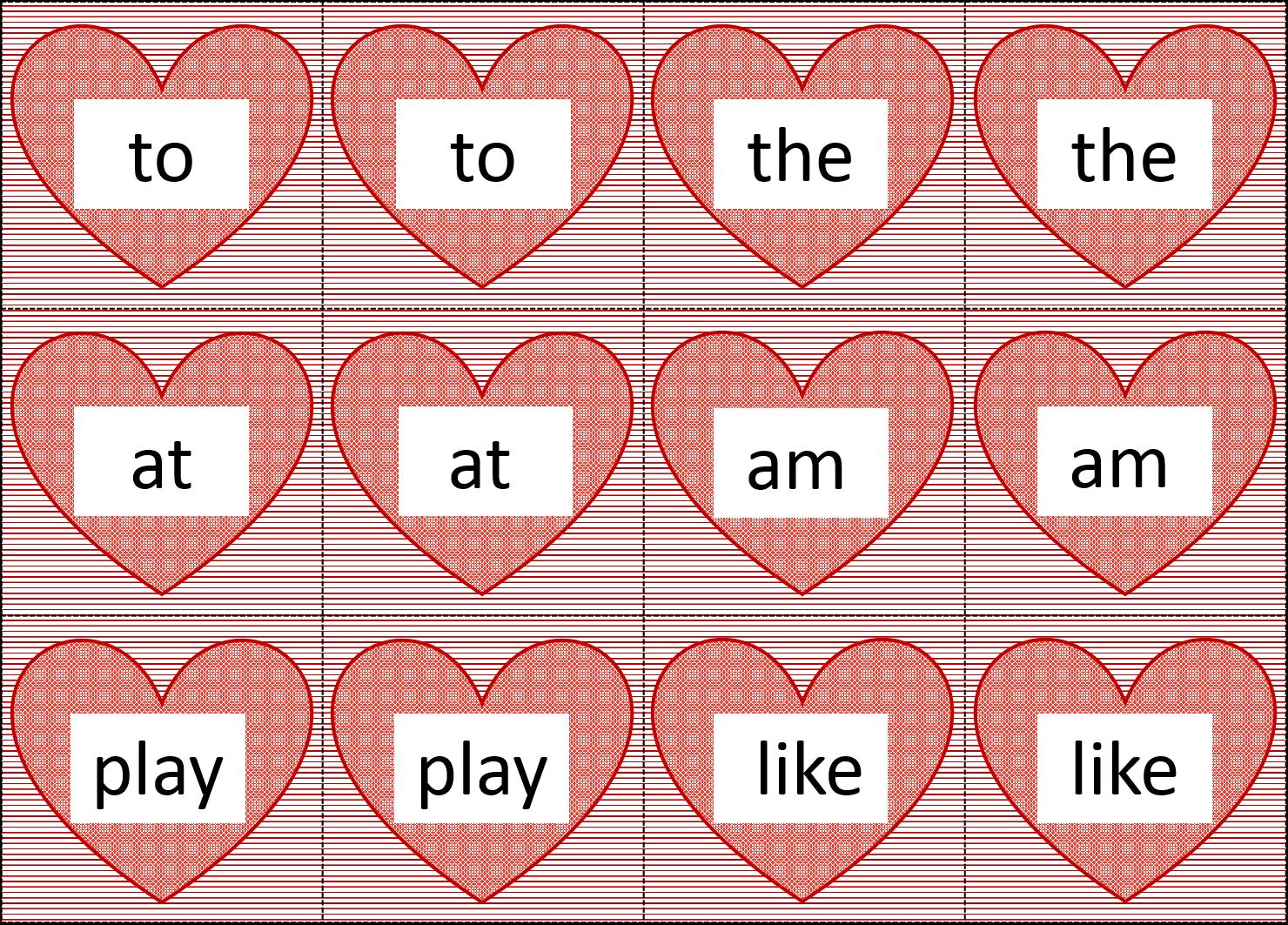 Kindergarten Literacy Center Valentine S Day Heart Word