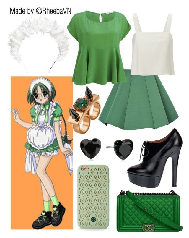 """""""Bridget Verdant 2 (Mew Mew Power)"""" by rheebavn ❤ liked on Polyvore featuring yunotme, Structured Green, D.Efect, 3.1 Phillip Lim, Alaïa, Chanel, Mawi, Betsey Johnson and Tory Burch"""