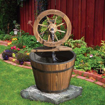 Fir Wood Wagon Wheel Rain Barrel Water Fountain | Yard | Pinterest ...