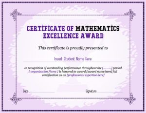 Mathematics Excellence Award Certificate Template For Ms Word